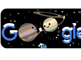 Google Doodle celebrates winter solstice and great conjunction of Jupiter and Saturn